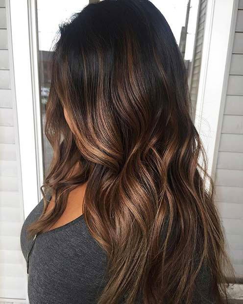 Dark Brown Hair With Highlights (10)