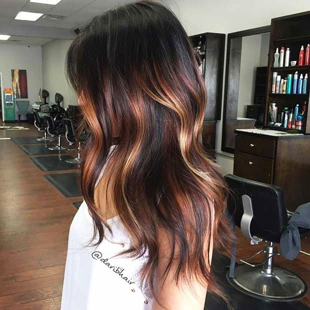Dark Brown Hair With Highlights (6)