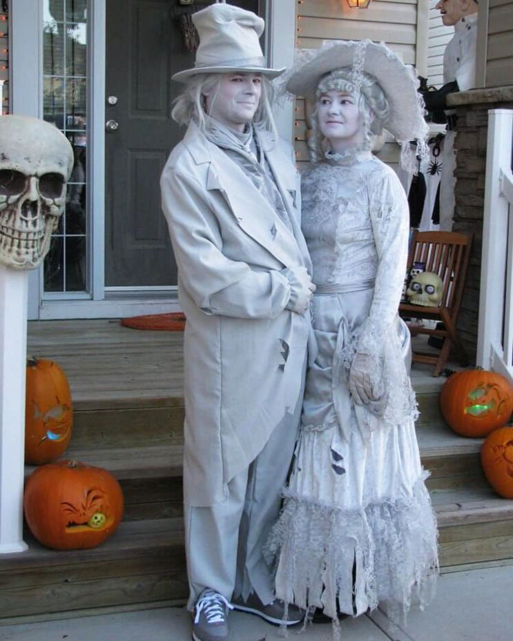 couple with white pain halloween