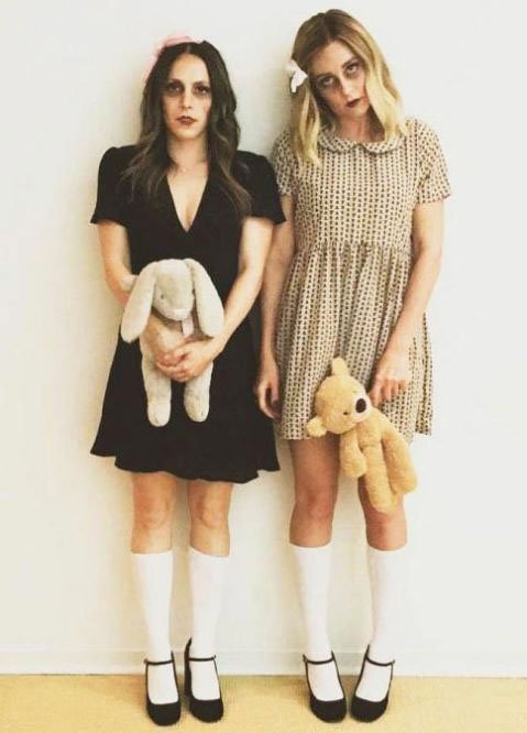 two girls with halloween dress