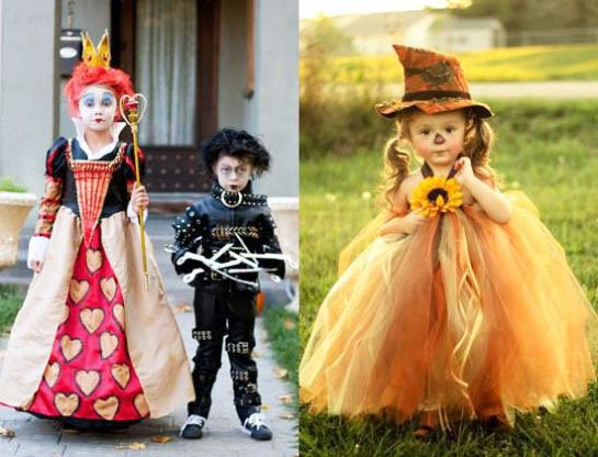 kids with halloween dress