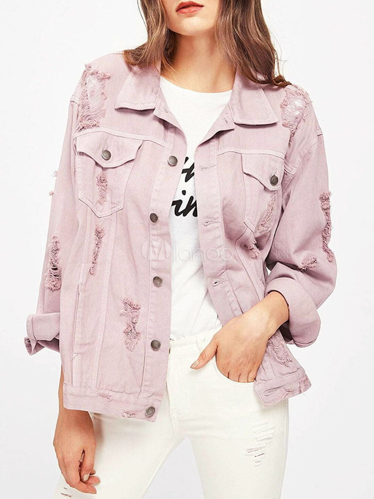 Women Denim Jackets Pink Turndown Collar Long Sleeve Front Button Spring Jacket copy