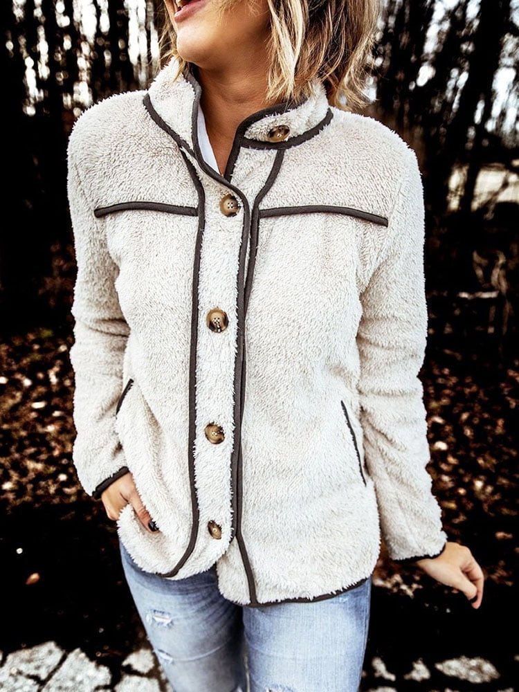 Women Jacket Stand Collar Long Sleeves Buttons Faux Fur Buttons Women Outfit copy