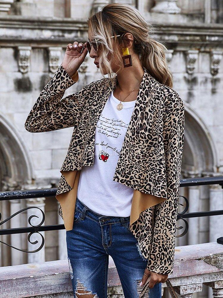 Women Short Jackets Leopard Print Long Sleeve Irregular Jacket copy