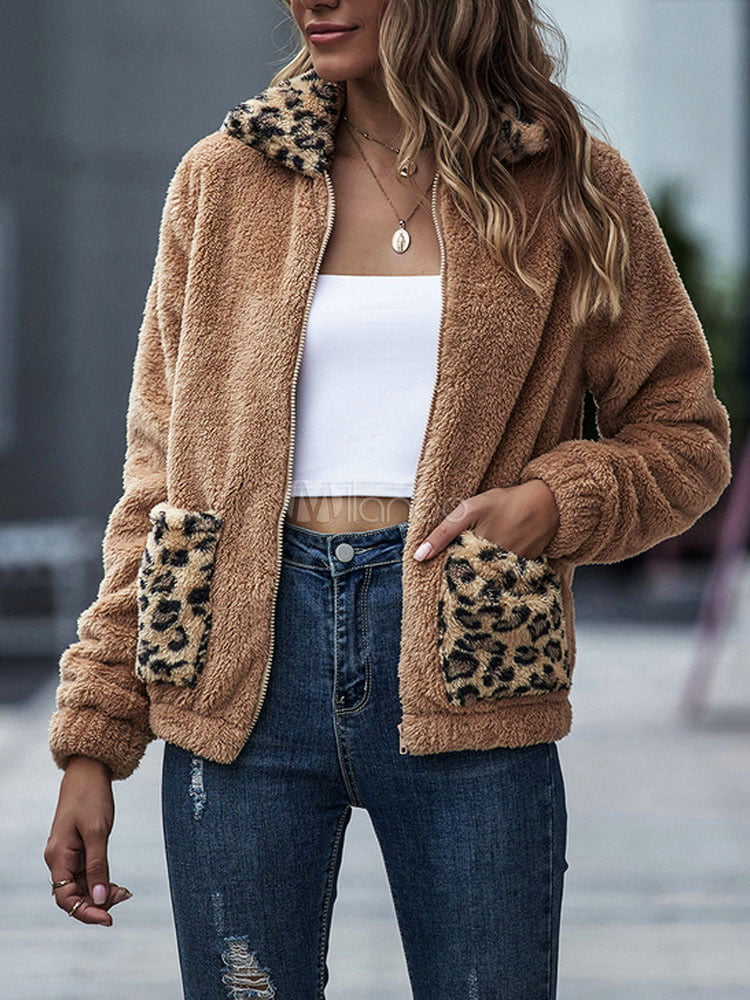 Women's Jackets Turndown Collar Leopard Print Zipper Casual Zipper Street Wear Khaki Jacket For Women copy