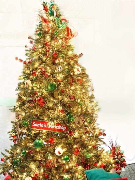 Christmas Tree With Decorations From Santa Claus' Workshop